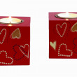 Two romantic candle squares - Stock Photo