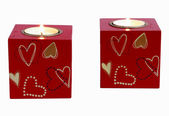 Two romantic candle squares — Stock Photo