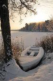 Winter boat — Stock Photo