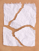 Crumpled ragged note paper — Stock Photo