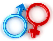 Red and blue symbols of Mars and Venus on white background with light shadows — Stock Photo