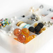 Box full of colored beads — Stock Photo