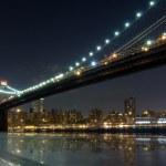Brooklyn Bridge at night, New York — Stock Photo