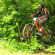 Stock Photo: Mountain biker in flight