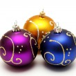 Gold, purple and blue christmas balls — Stock Photo #2393674
