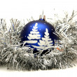 Blue ball with christmas tree drawing — Stock Photo