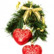 Stock Photo: Christmas hearts hanging on fir branch