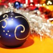 Blue christmas ball with gold pattern — Stock Photo #2394377
