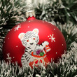 Christmas ball with drawing of tiger — Stock Photo
