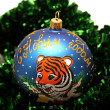 Christmas ball with drawing of tiger — 图库照片