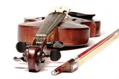 Old violin and bow — Stock Photo