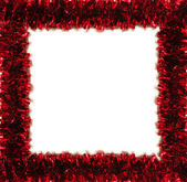 Red tinsel frame — 图库照片