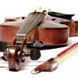 Old violin and bow - Stock Photo