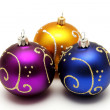 Gold, purple and blue christmas balls — Stock Photo