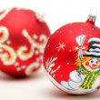 Two red christmas balls — Stock Photo #2547348