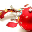 Stock Photo: Smashed red christmas ball