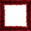 Red tinsel frame - Stock Photo