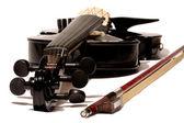 Electric 5-string black violin — Stock Photo