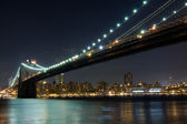 Brooklyn Bridge at night, New York — Stock Photo