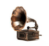 Old bronze Phonograph over white background. Isolated — Stock Photo