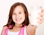 Girl and milk — Stock Photo