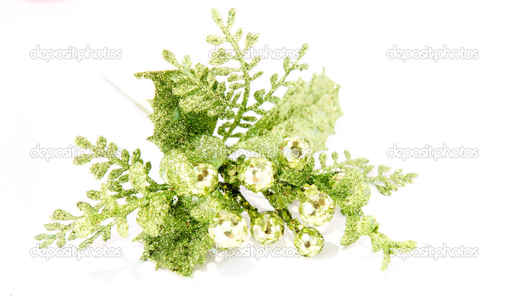 Green ornament over white background. Cristmas object — Stock Photo #2543213