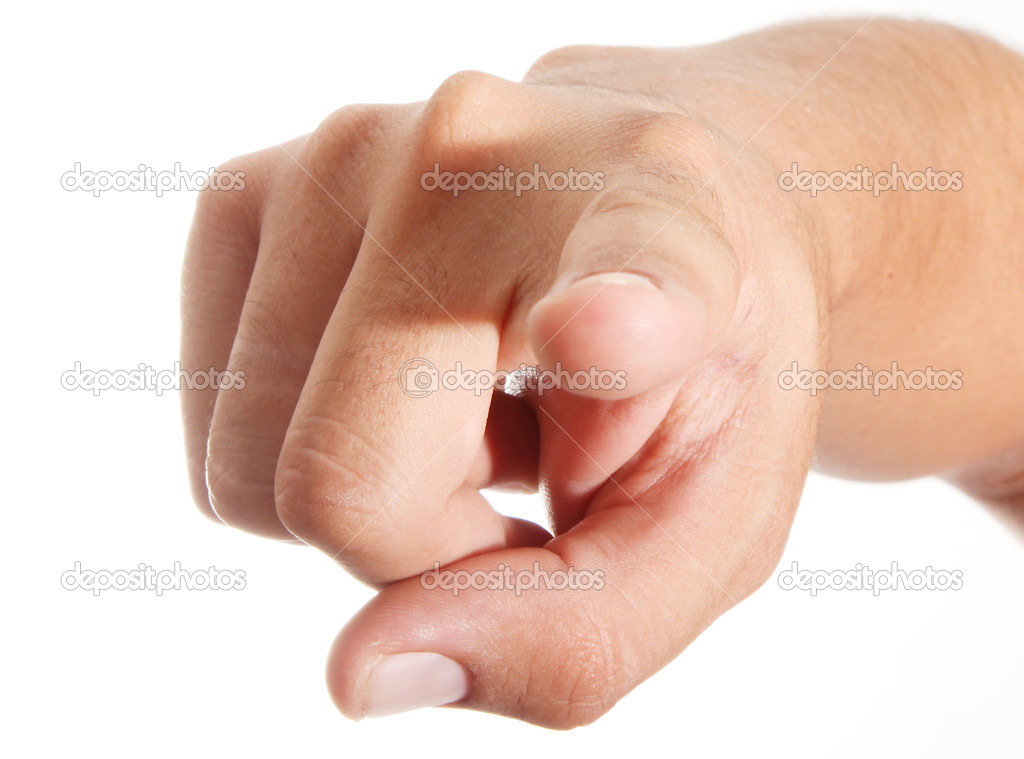 Hand pointing with index finger  over white background  — Stock Photo #2636146