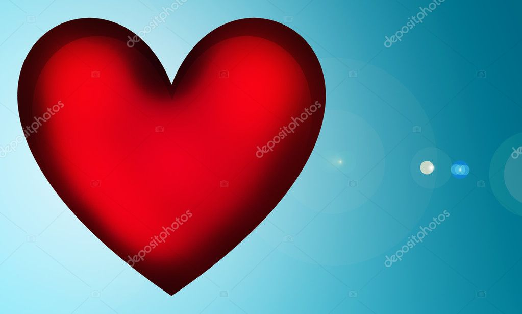 Red 3d heart over blue background. Illustration  Stock Photo #2636149
