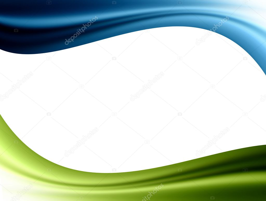 Blue and green waves over white background. Template illustration — Stock Photo #2636154