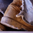 Construction Boots and Old Jeans — Stock Photo #2321819
