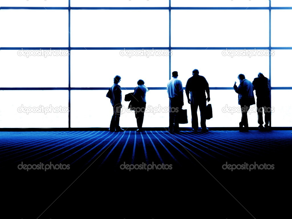 Group of looking out large window - business environment — Stock Photo #2339481