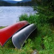 Canoes on Lake - Stock Photo