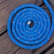 Blue Boat Rope on Dock — Stock Photo