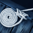 Artistic Boat Rope on Dock - Stock Photo