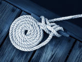 Artistic Boat Rope on Dock — Stock Photo