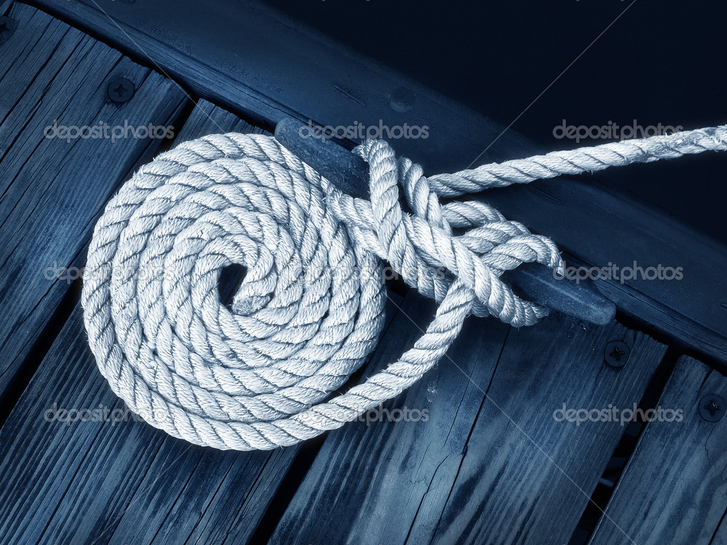 Artistic Boat Rope on Dock — Stock Photo © kiyyah #2344165