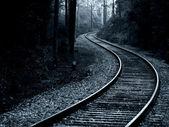 Midnight Train Track — Stock Photo