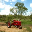 Old Red Tractor on Farm — Stock Photo