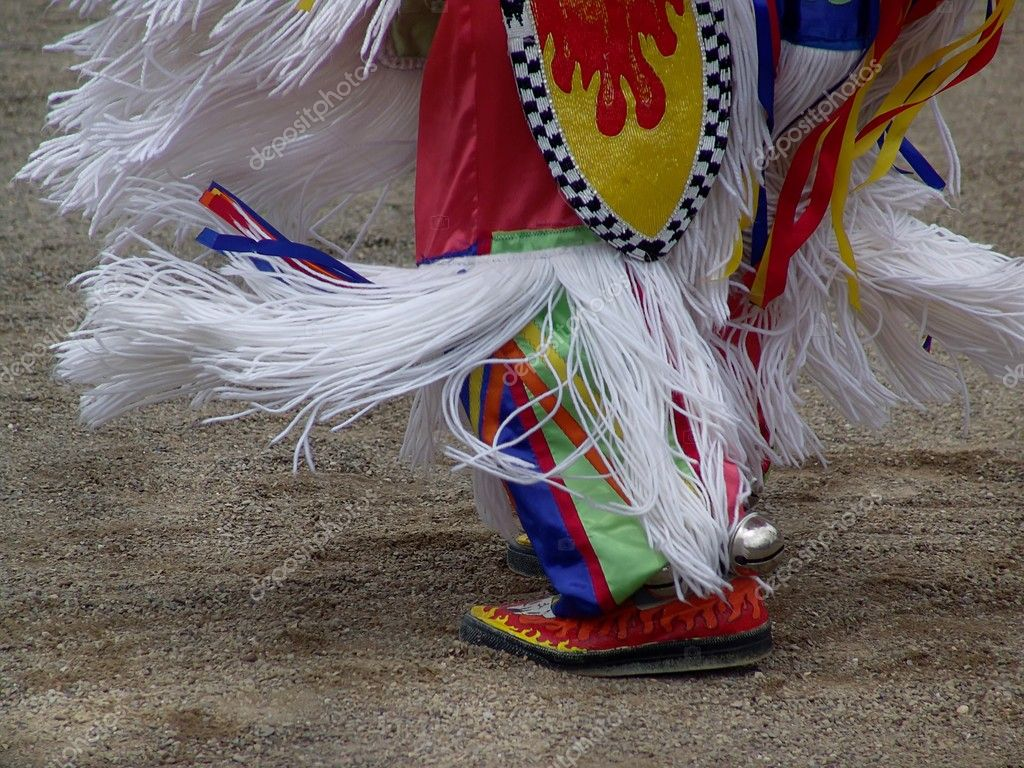 Colorful clothing and footwear of Native American dancer — Stock Photo #2413101