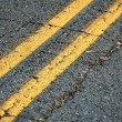 Double Yellow Road Lines — Stock Photo