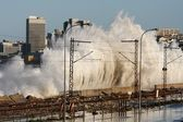 Coastal City Storm Waves — Stock Photo