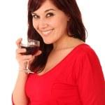 Pretty Brunette with Wine Glass — Stock Photo