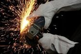 Industrial Grinding Orange Sparks — Stock Photo