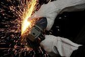 Industrial Grinding Orange Sparks — Stock Photo