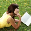 Attractive Brunette Girl Reading — Stock Photo #2415347