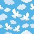 Stock Vector: Seamless pattern with doves and clouds