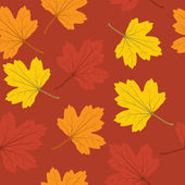 Autumn leaves seamless background — Stock Vector
