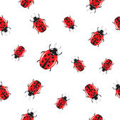 Seamless background with shiny ladybirds — Stock Vector