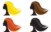 Woman with different hair color — Stock Vector