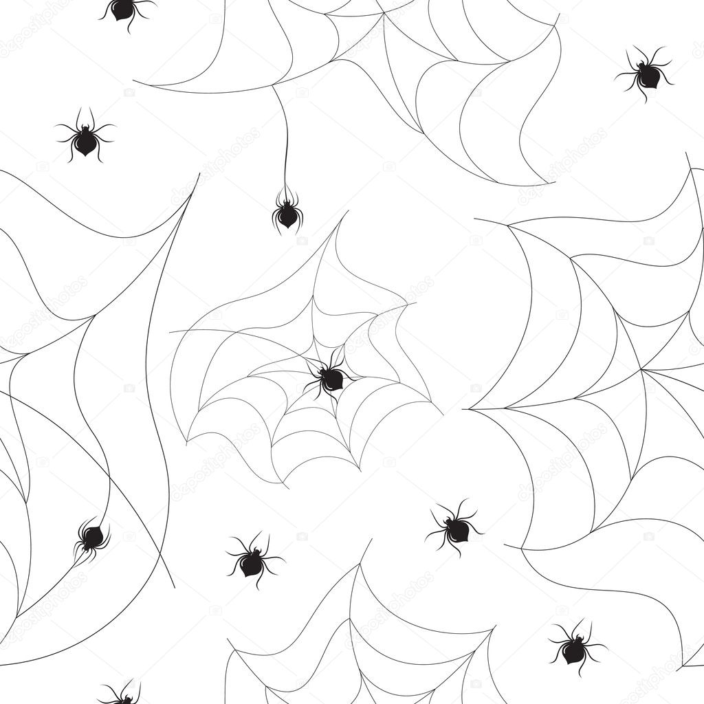 Vector seamless background with spiders and their webs. — Stock Vector #2278376